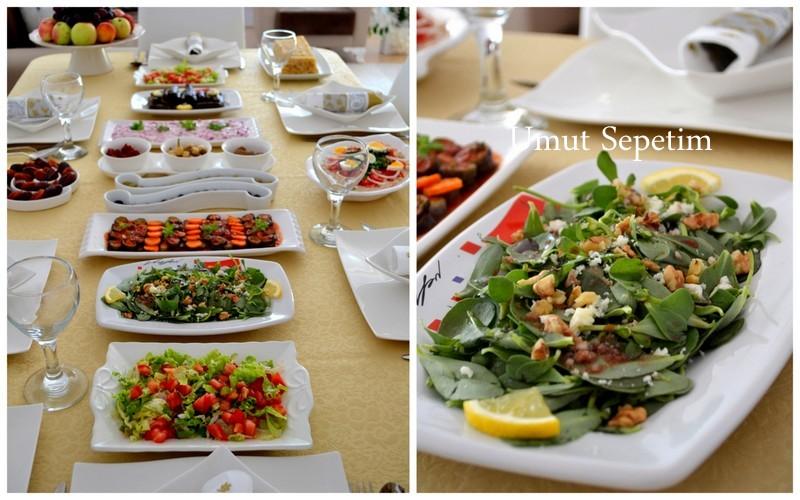 cevizli salata,semizotu salatası,peynir salatası,sofra resimleri